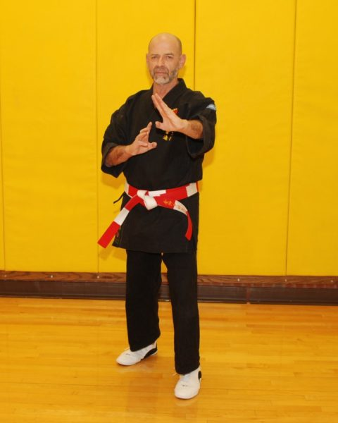 Hanshi Jeff Ader | Okinawa Karate knife hand Block in front of a yellow wall