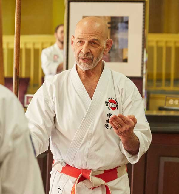 Hanshi Jeff Ader explains the art of Okinawan Karate to his students